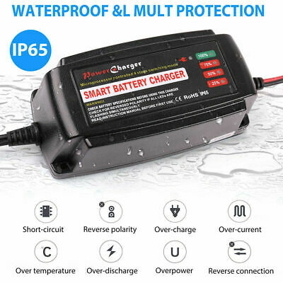 12V 5A Smart Battery Charger Maintainer Trickle for Car Boat Lawn Mower Marine