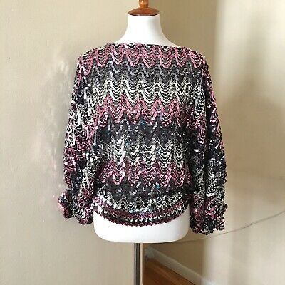 590582aaa1e1 Vtg 80s Sequin Disco Top Medium Batwing Party Pink Black Silver 1980s