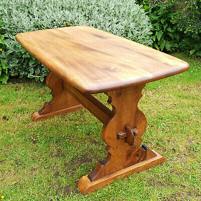 Elm Small Country Kitchen Refectory Dining Table Mid Century
