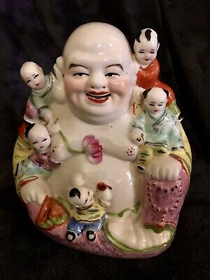 Vintage Chinese Porcelain Seated Famille Buddha Sculpture Signed