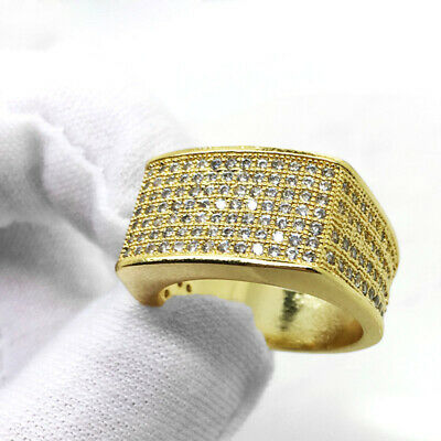 Flat Czech Rhinestones Copper Gold Plated Ring Bling Wedding Jewelry Size 6