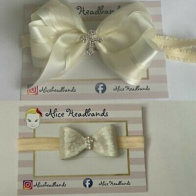 Baby Girl Cream/Ivory Christening Headband Baptism Wedding Bow Cross Hairband