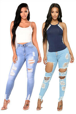 Womens Ladies Girls Ripped Jeans High Waist Slim Fit Skinny Denim Trousers Pants