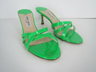 510549b534f8 Jimmy Choo Heels Sandals Slides Size 8 38 Green Patent Leather Open Toe  Strappy