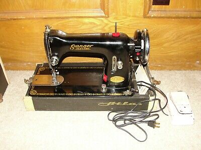 Vintage Sanger Electric De Luxe Sewing Machine w/ Case (Works Great)