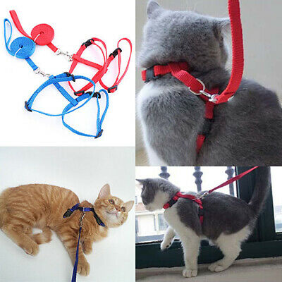 CN_ Adjustable Cat Harness Puppy Pet Collar Nylon Lead Leash Traction Safety R