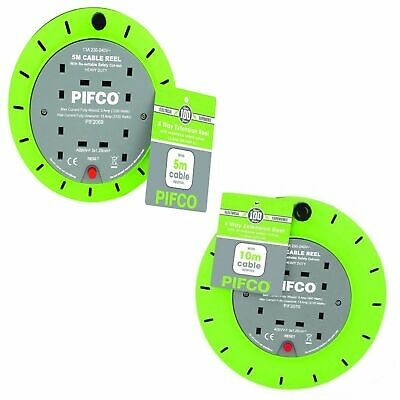 PIFCO 4 Way 5m / 10m 13 AMP Electric Extension Cable Reel Mains Plug socket lead