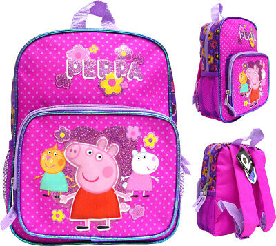 Peppa Pig Girls Backpack Pink Toddlers Small Hopscotch Side Pockets 10.5 in.