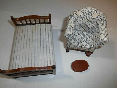 Dollhouse  Miniature Furniture Wood Easy Chair,Bed & Foot Stool