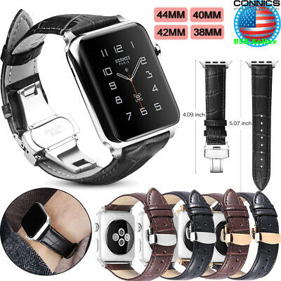 Fr Apple Watch Series 4 3 2 Deployment Buckle Genuine Leather Band Strap 38-44mm