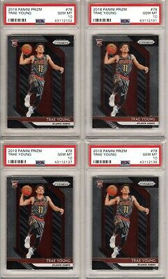 (Lot 4) 2018-19 Panini Prizm Trae Young Prizm Rookie Rc Rc's PSA 10 GEM MINT