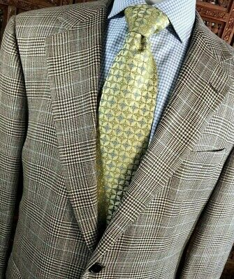 Brooks Brothers Men 42R-S Tan Brown Houndstooth Plaid Silk Linen Wool Sportcoat