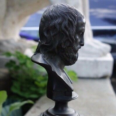 19C French Bronze/Marble Bust Ancient Greek Playwright Euripides
