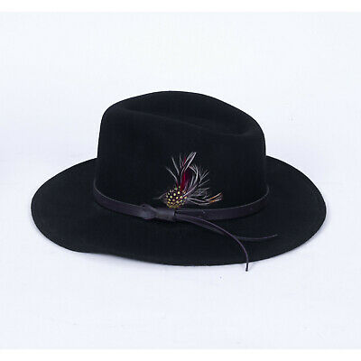 195f201401abf Dorfman Pacific Scala Outback Hat Wool Feather Cowboy Black Men's Medium