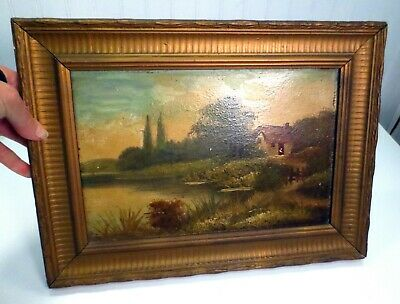 Antique Framed Oil On Board Painting Country Cottage Scene Nice Gold Wood Frame