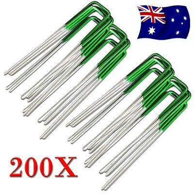 200PC Heavy Duty Anchor Pins Pegs for Weed Mat Turf Pins Pegs Lawn Tent Peg Pins