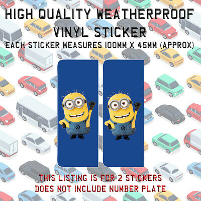 2 Minion Number Plate Vinyl Sticker Stick On Despicable Me Minions N022