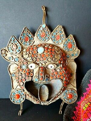 Old Tibetan Hand Beaten Brass Face with Local Stones …beautiful collection & dis