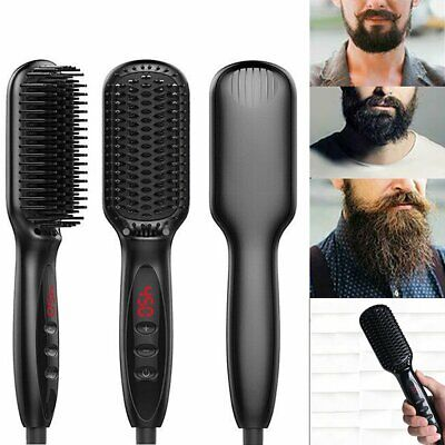 Quick Beard Straightener Multifunctional Hair Comb Curler For Man + Disp #T