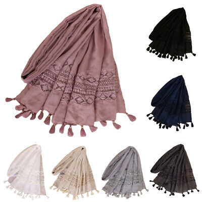 Women Ladies Tassel Scarf Hijab Muslim Islamic Long Scarves Shawl Wrap Headwear