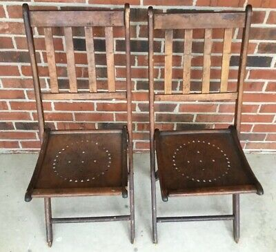 2 Vintage Antique Wooden Folding Chairs Wood Slat Seats Pair Set From 1893
