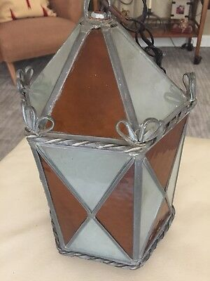 Mid century Swag Hanging Lamp Gothic Colored Glass Panel Hexagonal