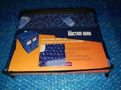 BBC Doctor Who Tardis Gears Blue Full Size Sheet Set NEW