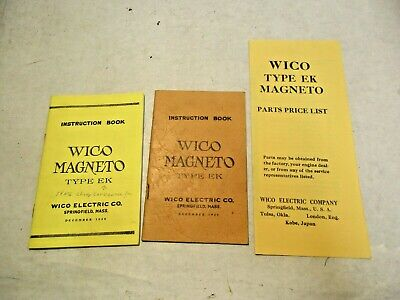 3 reprints of WICO Magneto Instruction & Price List Books that are in good shape