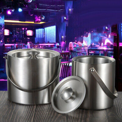 Stainless Steel Bar Hotel Double Layer Beer Cooling Wine Round Ice Bucket Sight