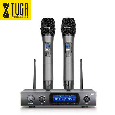 Wireless Microphone System E220 UHF 2 Cordless Handheld Whole Metal Mic to party