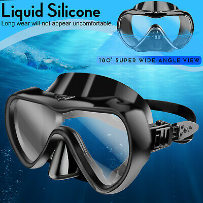 Underwater Diving Mask Scuba Snorkel Goggles Anti Fog Silicone Half Face Glasses