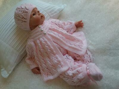 Dainty Hand Knitted 4 Piece Matinee Set for a Baby Girl or Reborn Doll