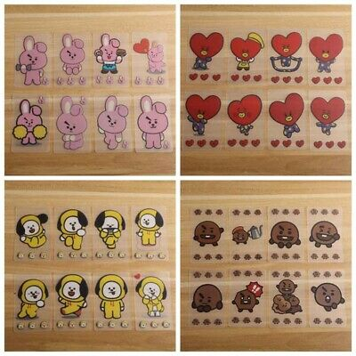 8pcs KPOP BTS Cartoon Transparent Cards Cute PVC Cards TATA COOKY CHIMMY Gift