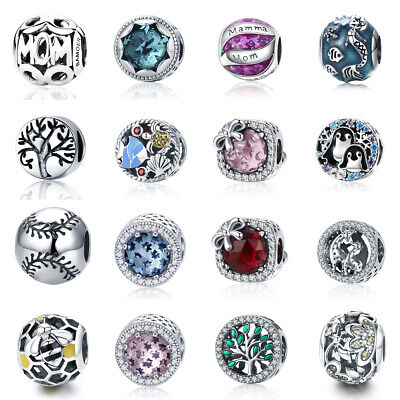 Women S925 Sterling Silver Charms Beads European With CZ DIY Bracelets Jewelry