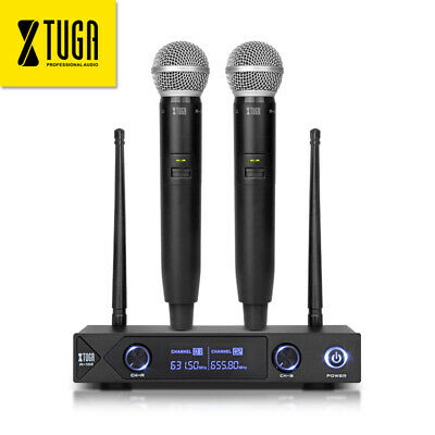 UHF A100 Wireless Dual Handheld Microphone System to DJ Karaoke with LED display