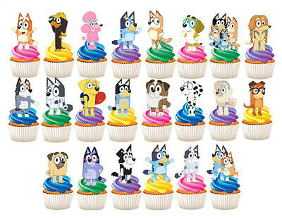 🌟 25 Stand Up Bluey Edible Cupcake Cake Topper Birthday Party Decoration Images