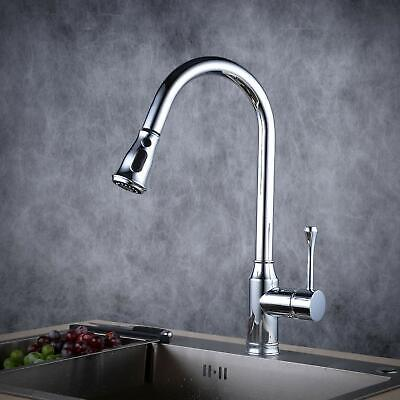 Pull Out Pull Down Sprayer Kitchen Sink Faucet Single Handle Chromed Brass