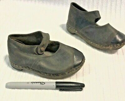 Antique Leather Black Girl Child's Single Button Wood Sole Shoes
