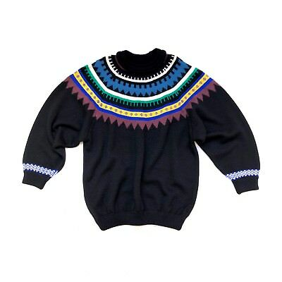 COOGI!!! 1980s black wool knitted sweater with colourful neck decoration
