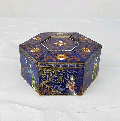 Fine Vintage Chinese Gilt Cloisonne Multi Section Box With Figures And Mark