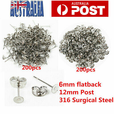 400pcs Earring Stud Posts 6mm Pads and backs Hypoallergenic Surgical Steel AU