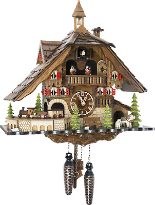 Original German Cuckoo Clock Quartz-movement Chalet-Style 40cm by Engstler