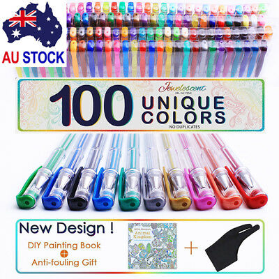 100X Color Gel Pen Paint Book Craft Drawing Neon Graffiti Pen & 100X Pen Refill