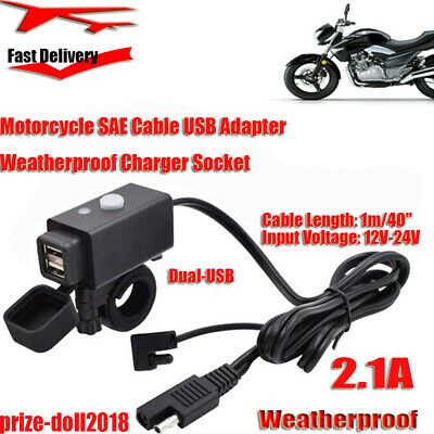 chargeur moto pour dual usb universal use -2.1A Motorcycle SAE Cable USB Adapter