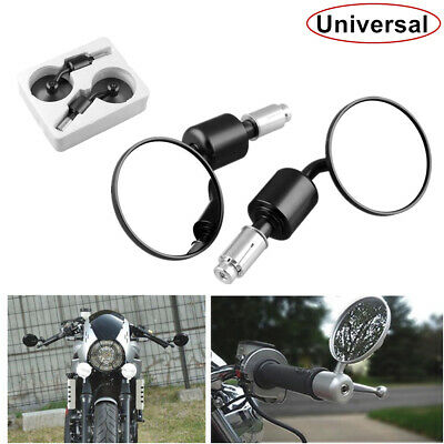 Black Round Handle Bar End Rearview Motorcycle Safety Side Mirrors Modified Part