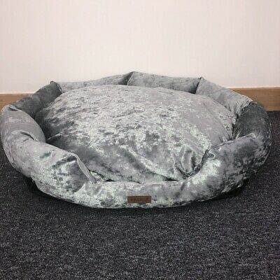 Grey Crushed Velvet Luxury Small Pet Bed Dog/Puppy/Cat/Kitten Washable Sale #805