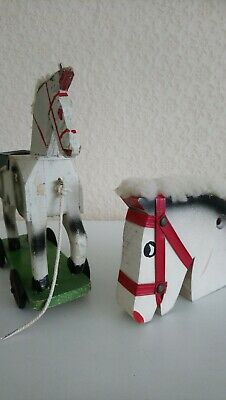 Antique rocking horse pull along horse and Hobby Horse Head