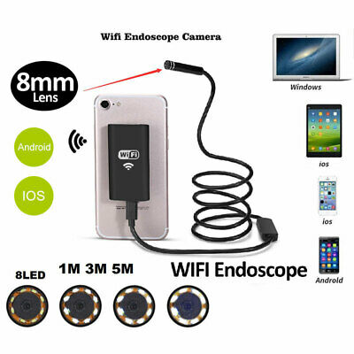 8LED WiFi Endoscope Borescope Inspection HD 720P Camera IP67 For iPhone Android