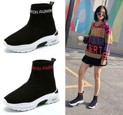 Womens Breathable Sneakers Running High Top Sock Shoes Platform Casual Shoes New