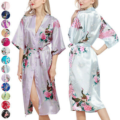 HOT Women Soft floral Robe Dressing Gown Bridal Wedding Bride Bridesmaid Kimono